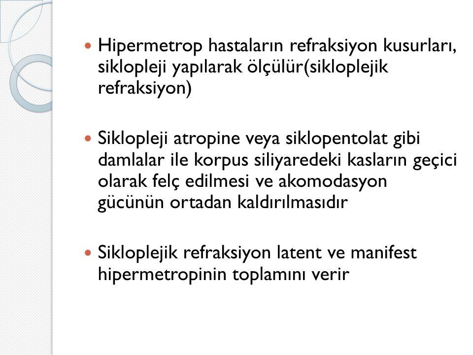 Hipermetrop hastaların refraksiyon kusurları, siklopleji yapılarak ölçülür(sikloplejik refraksiyon) Siklopleji atropine veya siklopentolat gibi damlalar ile korpus siliyaredeki kasların geçici olarak felç edilmesi ve akomodasyon gücünün ortadan kaldırılmasıdır Sikloplejik refraksiyon latent ve manifest hipermetropinin toplamını verir
