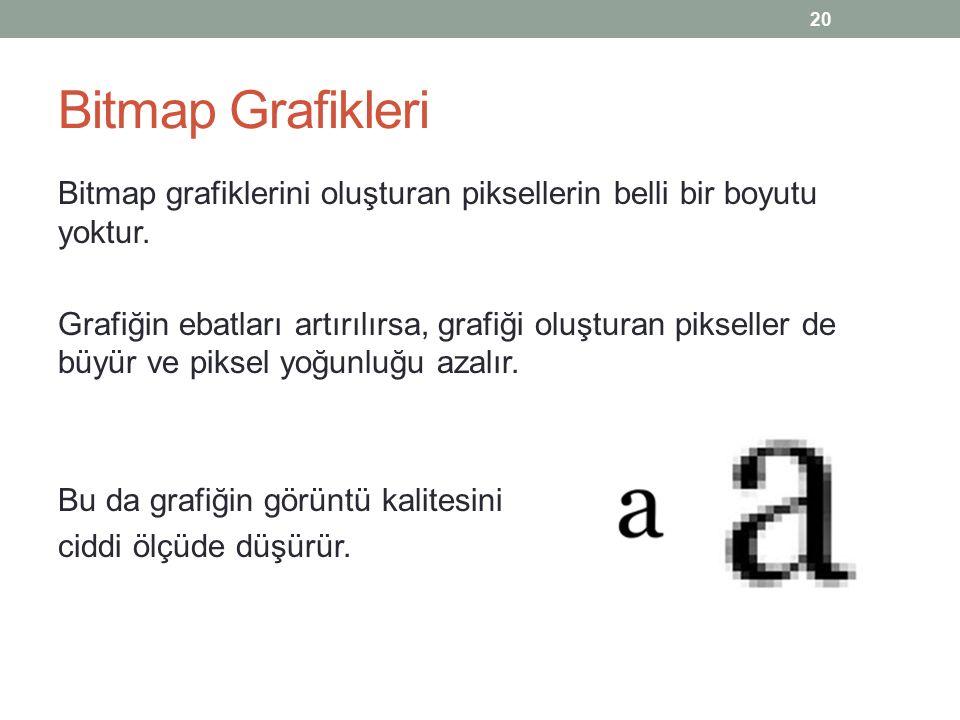 Bitmap Grafikleri Bitmap grafiklerini oluşturan piksellerin belli bir boyutu yoktur.