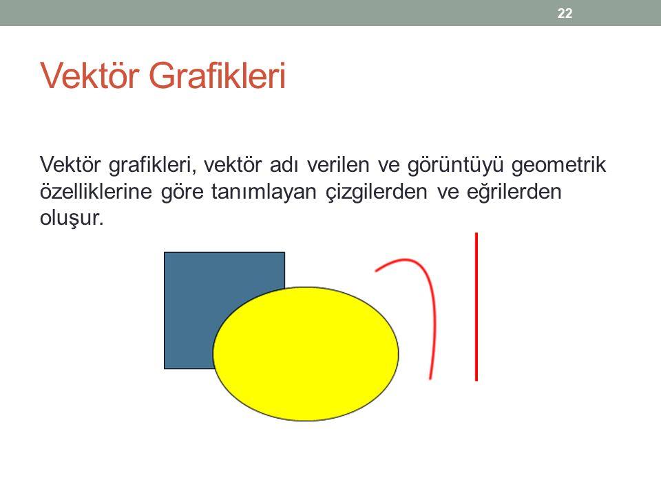 Vektör Grafikleri Vektör grafikleri, vektör adı verilen ve görüntüyü geometrik özelliklerine göre tanımlayan çizgilerden ve eğrilerden oluşur.