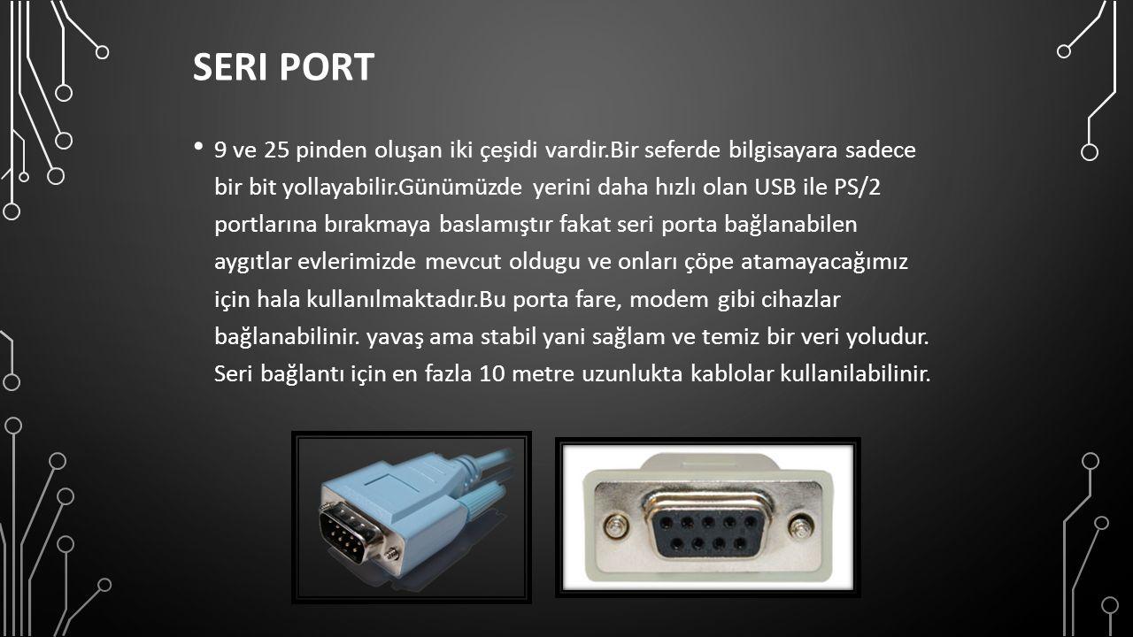SERI PORT 9 ve 25 pinden oluşan iki çeşidi vardir.Bir seferde bilgisayara sadece bir bit yollayabilir.Günümüzde yerini daha hızlı olan USB ile PS/2 portlarına bırakmaya baslamıştır fakat seri porta bağlanabilen aygıtlar evlerimizde mevcut oldugu ve onları çöpe atamayacağımız için hala kullanılmaktadır.Bu porta fare, modem gibi cihazlar bağlanabilinir.