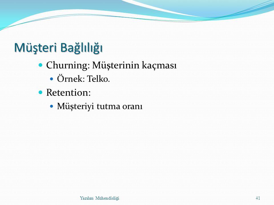 Müşteri Bağlılığı Churning: Müşterinin kaçması Örnek: Telko.