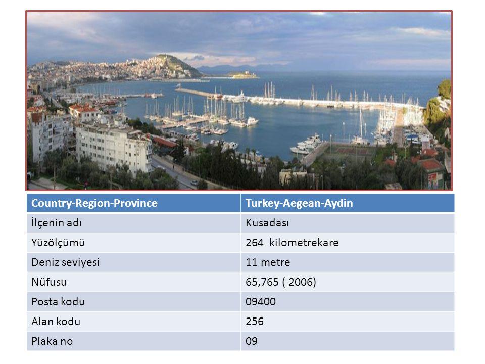 Country-Region-ProvinceTurkey-Aegean-Aydin İlçenin adıKusadası Yüzölçümü264 kilometrekare Deniz seviyesi11 metre Nüfusu65,765 ( 2006) Posta kodu09400 Alan kodu256 Plaka no09