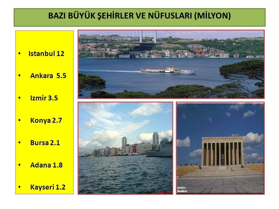 BAZI BÜYÜK ŞEHİRLER VE NÜFUSLARI (MİLYON) Istanbul 12 Ankara 5.5 Izmir 3.5 Konya 2.7 Bursa 2.1 Adana 1.8 Kayseri 1.2