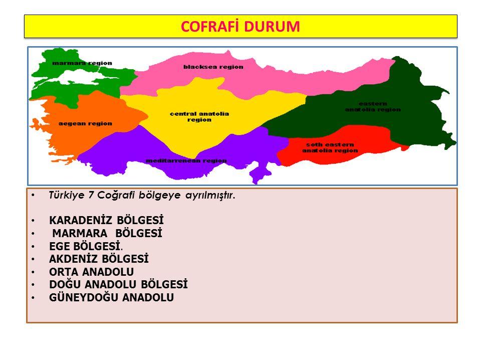 COFRAFİ DURUM Türkiye 7 Coğrafi bölgeye ayrılmıştır.