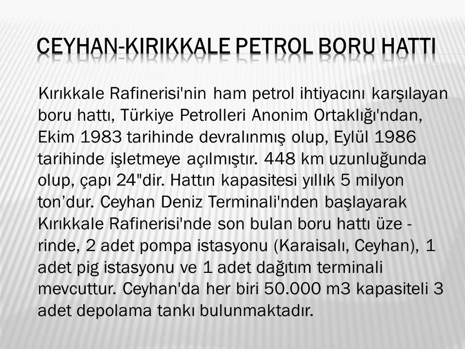 Kırıkkale Rafinerisi nin ham petrol ihtiyacını karşılayan boru hattı, Türkiye Petrolleri Anonim Ortaklığı ndan, Ekim 1983 tarihinde devralınmış olup, Eylül 1986 tarihinde işletmeye açılmıştır.