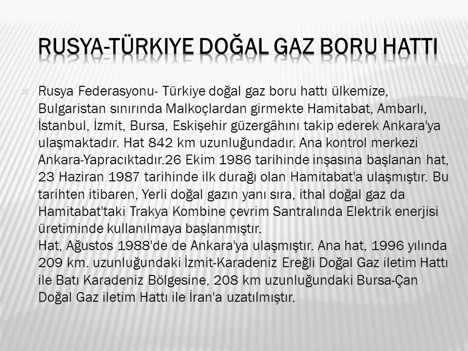  Rusya Federasyonu- Türkiye doğal gaz boru hattı ülkemize, Bulgaristan sınırında Malkoçlardan girmekte Hamitabat, Ambarlı, İstanbul, İzmit, Bursa, Eskişehir güzergâhını takip ederek Ankara ya ulaşmaktadır.