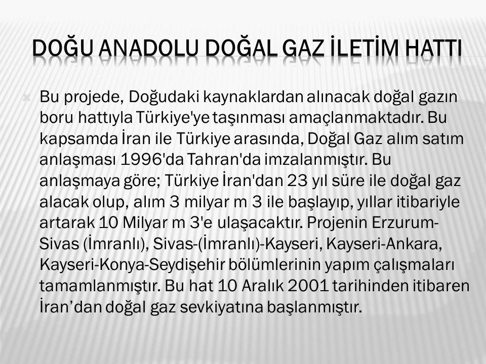  Bu projede, Doğudaki kaynaklardan alınacak doğal gazın boru hattıyla Türkiye ye taşınması amaçlanmaktadır.