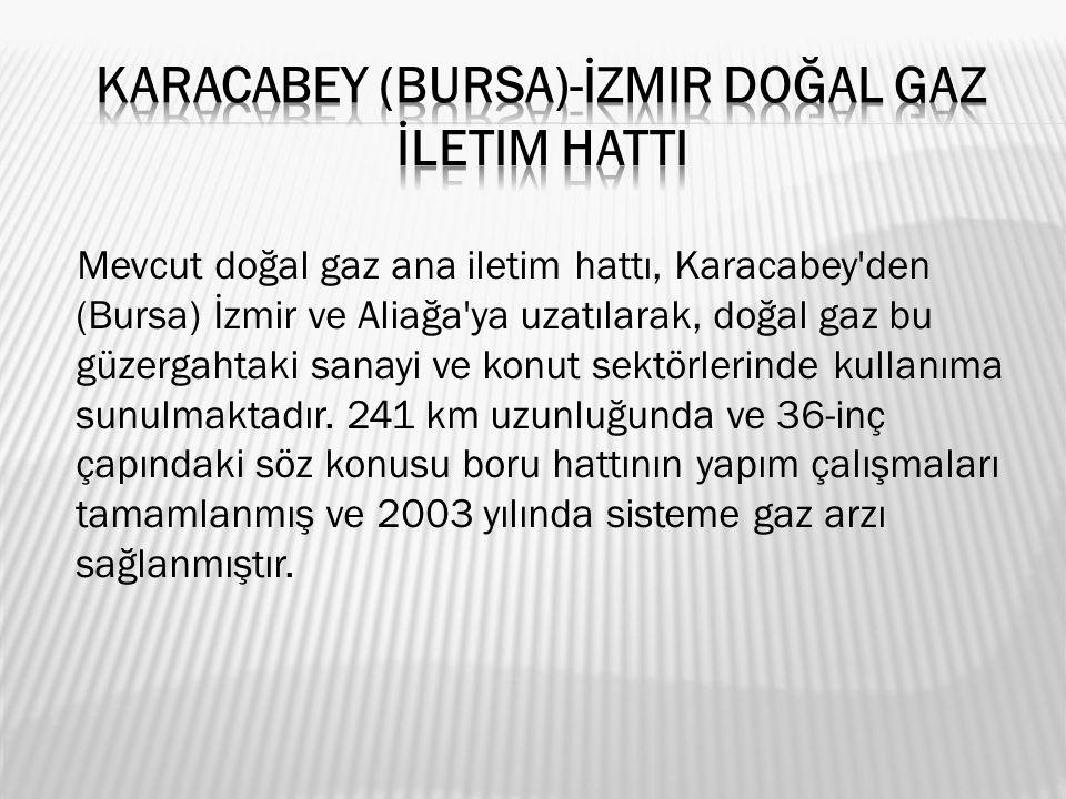 Mevcut doğal gaz ana iletim hattı, Karacabey den (Bursa) İzmir ve Aliağa ya uzatılarak, doğal gaz bu güzergahtaki sanayi ve konut sektörlerinde kullanıma sunulmaktadır.
