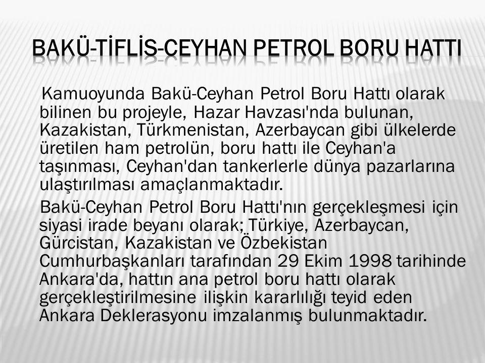 Kamuoyunda Bakü-Ceyhan Petrol Boru Hattı olarak bilinen bu projeyle, Hazar Havzası nda bulunan, Kazakistan, Türkmenistan, Azerbaycan gibi ülkelerde üretilen ham petrolün, boru hattı ile Ceyhan a taşınması, Ceyhan dan tankerlerle dünya pazarlarına ulaştırılması amaçlanmaktadır.