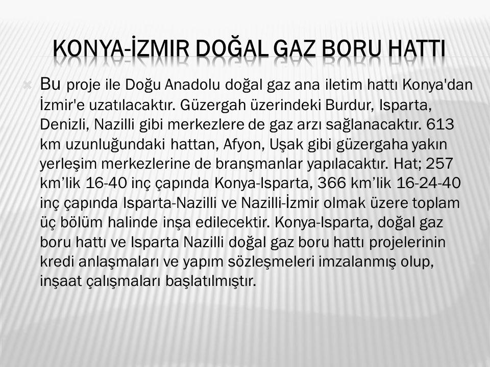  Bu proje ile Doğu Anadolu doğal gaz ana iletim hattı Konya dan İzmir e uzatılacaktır.