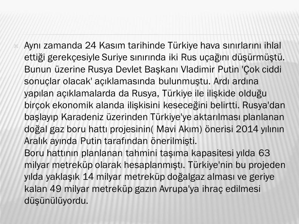  Aynı zamanda 24 Kasım tarihinde Türkiye hava sınırlarını ihlal ettiği gerekçesiyle Suriye sınırında iki Rus uçağını düşürmüştü.