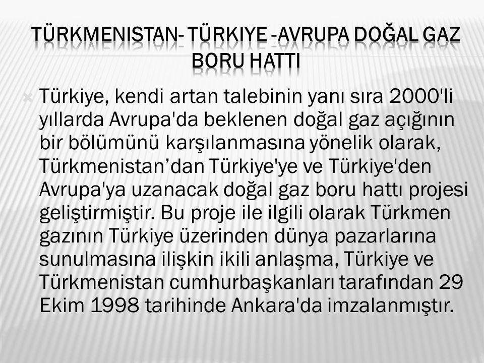  Türkiye, kendi artan talebinin yanı sıra 2000 li yıllarda Avrupa da beklenen doğal gaz açığının bir bölümünü karşılanmasına yönelik olarak, Türkmenistan'dan Türkiye ye ve Türkiye den Avrupa ya uzanacak doğal gaz boru hattı projesi geliştirmiştir.