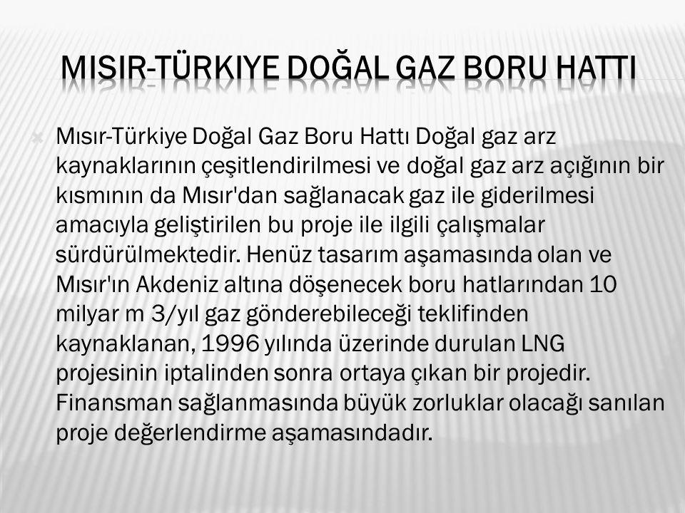 Mısır-Türkiye Doğal Gaz Boru Hattı Doğal gaz arz kaynaklarının çeşitlendirilmesi ve doğal gaz arz açığının bir kısmının da Mısır dan sağlanacak gaz ile giderilmesi amacıyla geliştirilen bu proje ile ilgili çalışmalar sürdürülmektedir.