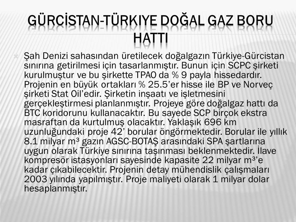  Şah Denizi sahasından üretilecek doğalgazın Türkiye-Gürcistan sınırına getirilmesi için tasarlanmıştır.