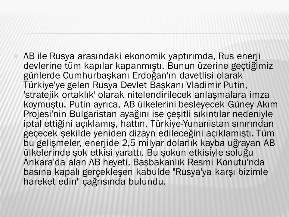  AB ile Rusya arasındaki ekonomik yaptırımda, Rus enerji devlerine tüm kapılar kapanmıştı.