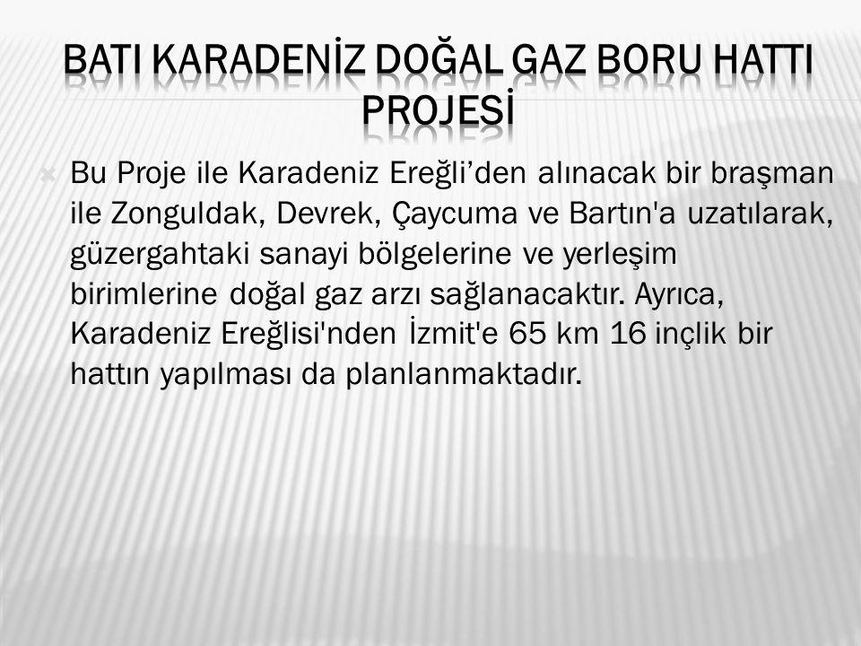  Bu Proje ile Karadeniz Ereğli'den alınacak bir braşman ile Zonguldak, Devrek, Çaycuma ve Bartın a uzatılarak, güzergahtaki sanayi bölgelerine ve yerleşim birimlerine doğal gaz arzı sağlanacaktır.