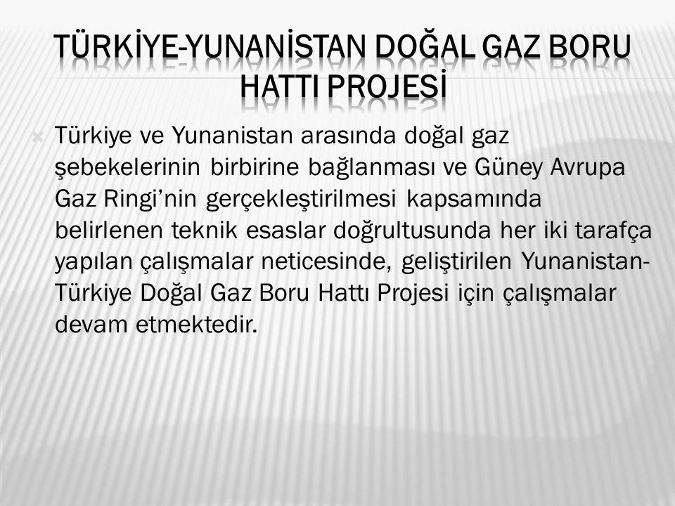  Türkiye ve Yunanistan arasında doğal gaz şebekelerinin birbirine bağlanması ve Güney Avrupa Gaz Ringi'nin gerçekleştirilmesi kapsamında belirlenen teknik esaslar doğrultusunda her iki tarafça yapılan çalışmalar neticesinde, geliştirilen Yunanistan- Türkiye Doğal Gaz Boru Hattı Projesi için çalışmalar devam etmektedir.