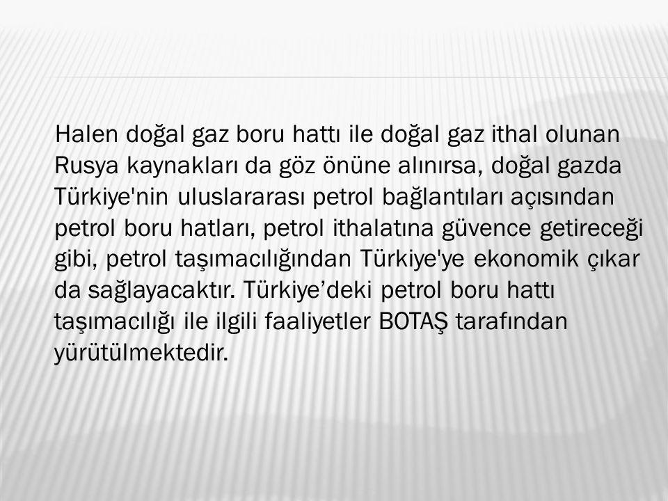Halen doğal gaz boru hattı ile doğal gaz ithal olunan Rusya kaynakları da göz önüne alınırsa, doğal gazda Türkiye nin uluslararası petrol bağlantıları açısından petrol boru hatları, petrol ithalatına güvence getireceği gibi, petrol taşımacılığından Türkiye ye ekonomik çıkar da sağlayacaktır.