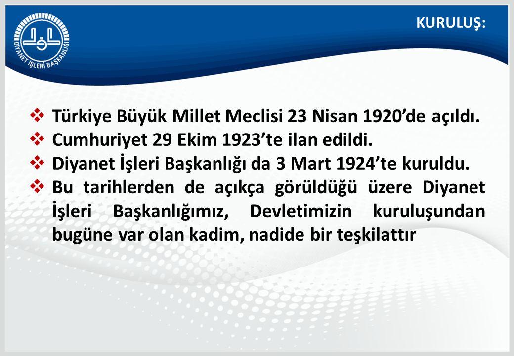  Türkiye Büyük Millet Meclisi 23 Nisan 1920'de açıldı.  Cumhuriyet 29 Ekim 1923'te ilan edildi.  Diyanet İşleri Başkanlığı da 3 Mart 1924'te kuruld
