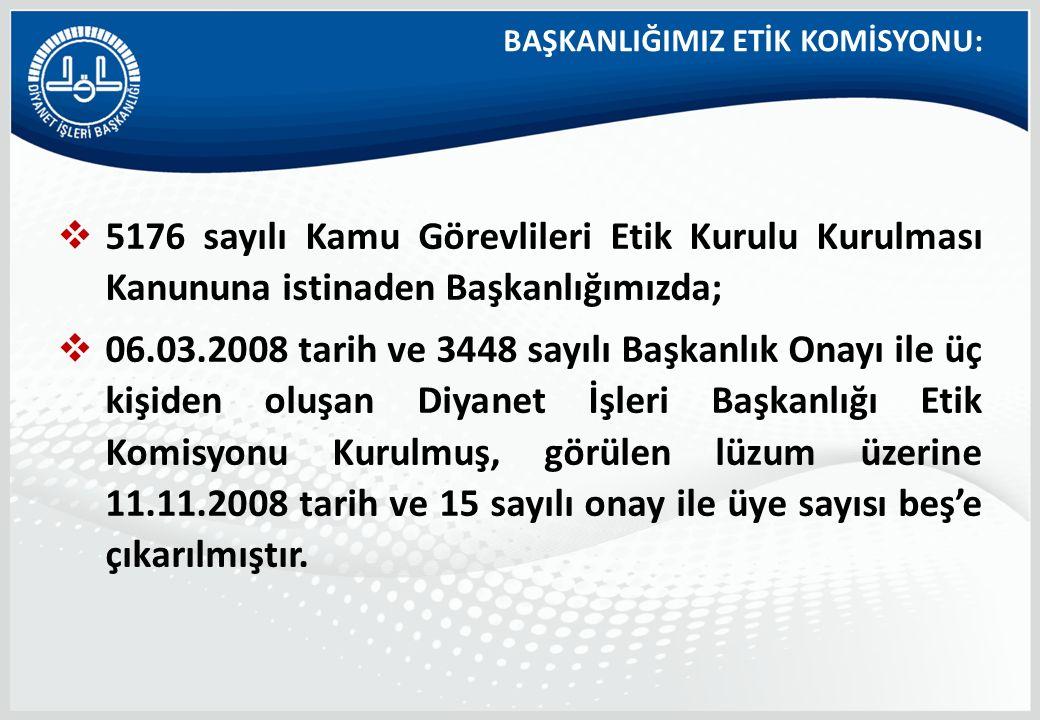 BAŞKANLIĞIMIZ ETİK KOMİSYONU:  5176 sayılı Kamu Görevlileri Etik Kurulu Kurulması Kanununa istinaden Başkanlığımızda;  06.03.2008 tarih ve 3448 sayı