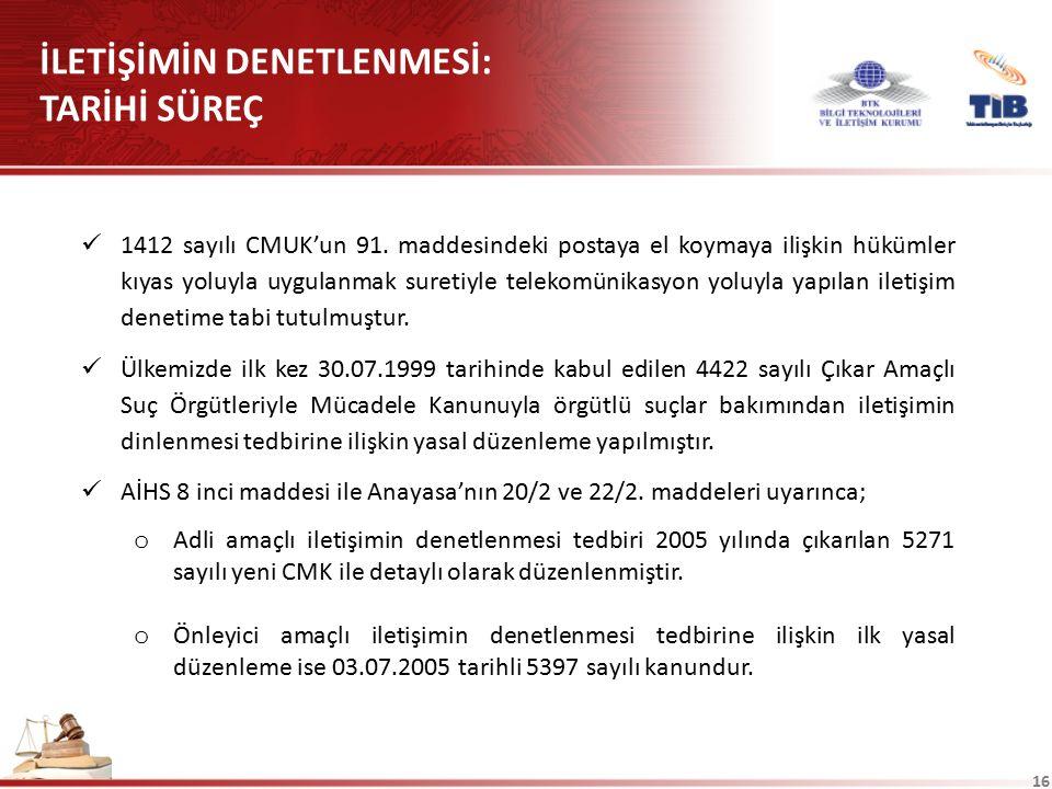 16 1412 sayılı CMUK'un 91. maddesindeki postaya el koymaya ilişkin hükümler kıyas yoluyla uygulanmak suretiyle telekomünikasyon yoluyla yapılan iletiş
