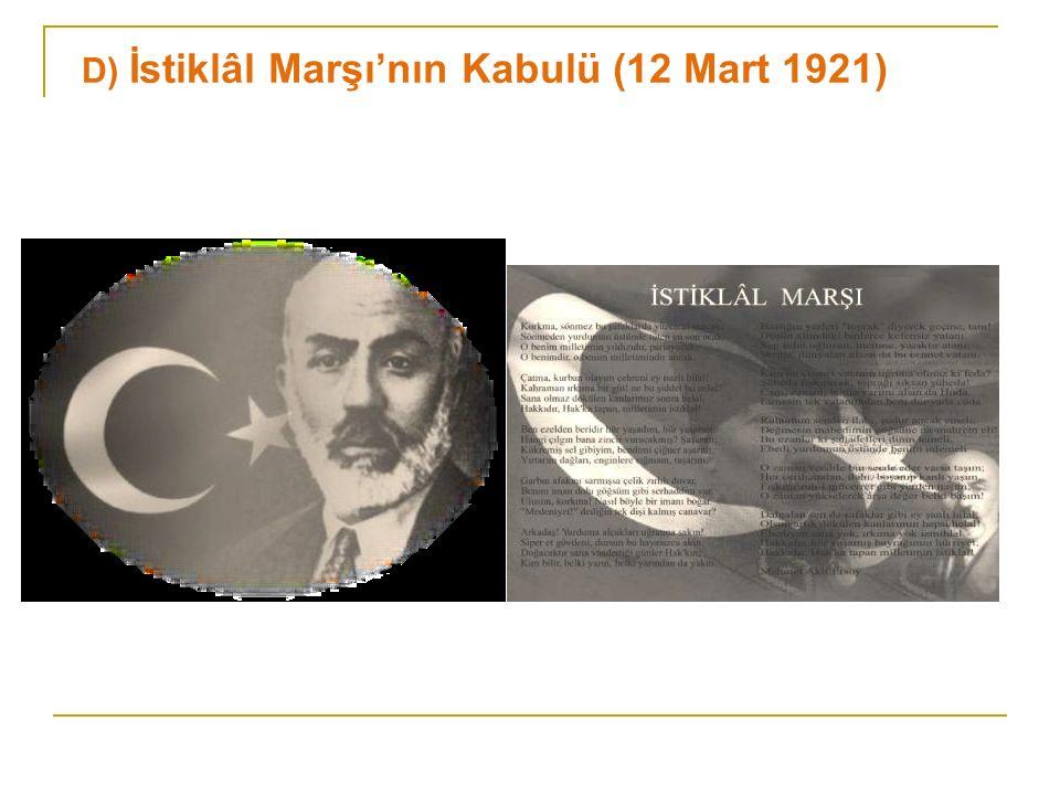 Mehmet Âkif Ersoy tarafından yazılmış ve Maarif Vekâleti ( Millî Eğitim Bakanlığı )' nin 1921'de düzenlediği yarışma sonucunda 724 şiir arasından seçilmiştir.