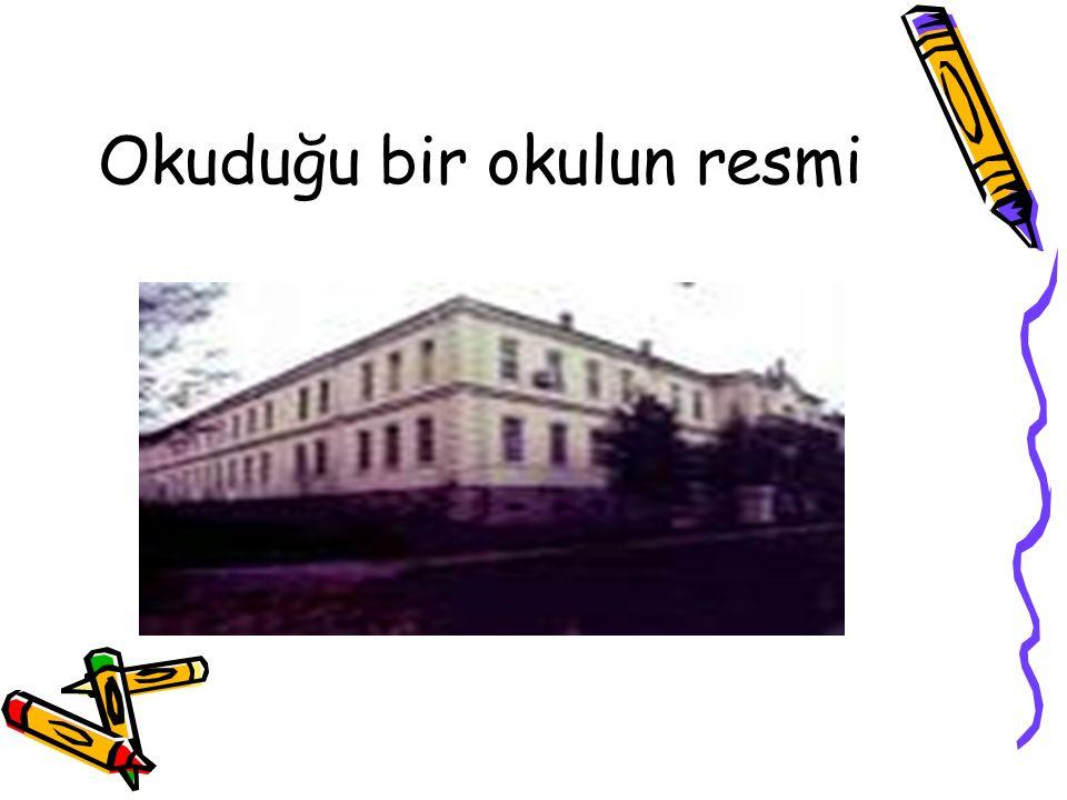 Okuduğu bir okulun resmi