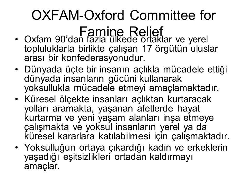 OXFAM-Oxford Committee for Famine Relief Oxfam 90'dan fazla ülkede ortaklar ve yerel topluluklarla birlikte çalışan 17 örgütün uluslar arası bir konfe
