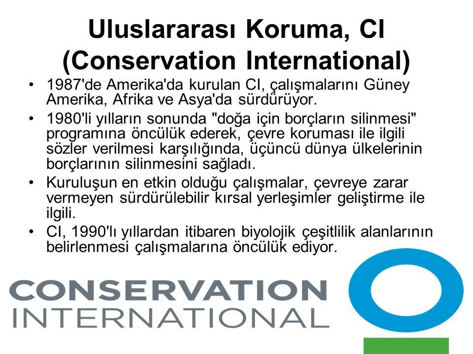 Uluslararası Koruma, CI (Conservation International) 1987'de Amerika'da kurulan CI, çalışmalarını Güney Amerika, Afrika ve Asya'da sürdürüyor. 1980'li