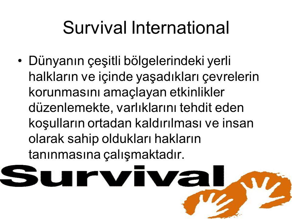 Survival International Dünyanın çeşitli bölgelerindeki yerli halkların ve içinde yaşadıkları çevrelerin korunmasını amaçlayan etkinlikler düzenlemekte