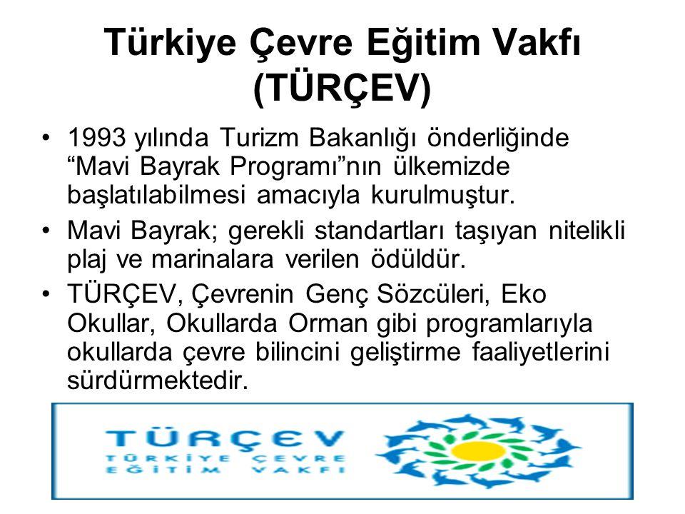 """Türkiye Çevre Eğitim Vakfı (TÜRÇEV) 1993 yılında Turizm Bakanlığı önderliğinde """"Mavi Bayrak Programı""""nın ülkemizde başlatılabilmesi amacıyla kurulmuşt"""