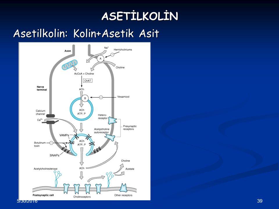 5/30/2016 39 ASETİLKOLİN Asetilkolin: Kolin+Asetik Asit
