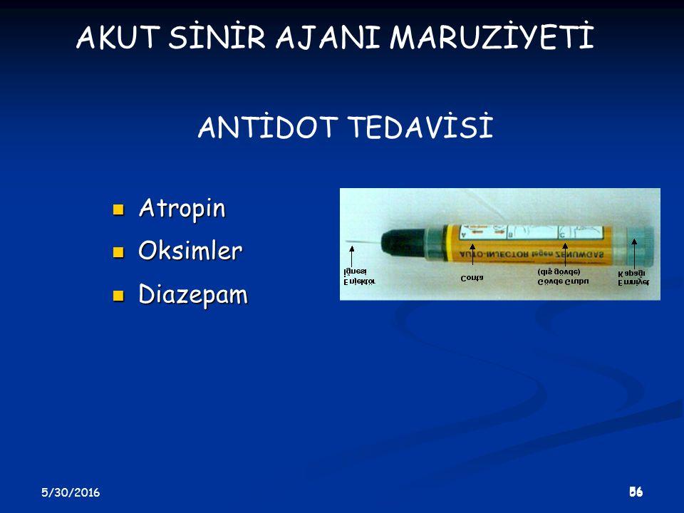 5/30/2016 57 ATROPİN Başlangıç dozu Başlangıç dozu Erişkin: 2-6 mg Erişkin: 2-6 mg Çocuk:0.15 mg/kg Çocuk:0.15 mg/kg İdame dozu (5-30 dk tekrar) İdame dozu (5-30 dk tekrar) Erişkin: 1-2 mg Erişkin: 1-2 mg Çocuk: 0.15 mg/kg Çocuk: 0.15 mg/kg Uygulama yolu kasiçi/damariçi Uygulama yolu kasiçi/damariçi AKUT SİNİR AJANI MARUZİYETİ
