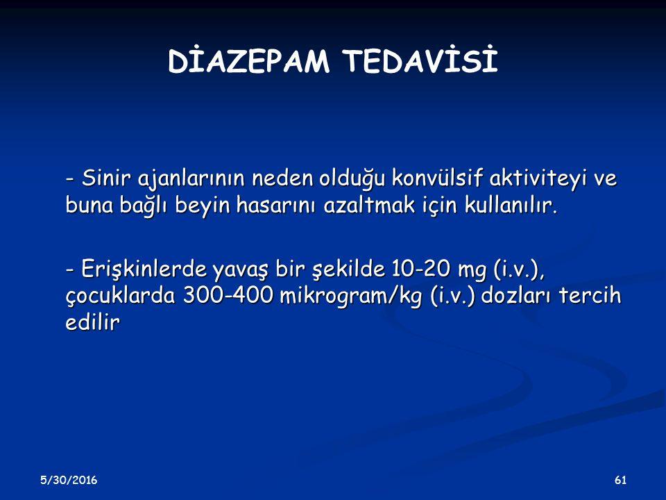 5/30/2016 61 DİAZEPAM TEDAVİSİ - Sinir ajanlarının neden olduğu konvülsif aktiviteyi ve buna bağlı beyin hasarını azaltmak için kullanılır. - Erişkinl
