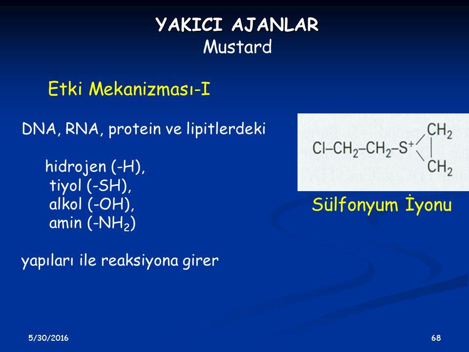 5/30/2016 68 YAKICI AJANLAR Mustard Etki Mekanizması-I Sülfonyum İyonu DNA, RNA, protein ve lipitlerdeki hidrojen (-H), tiyol (-SH), alkol (-OH), amin
