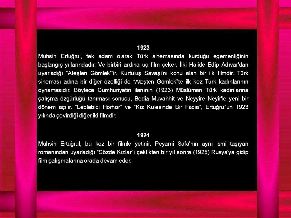 1923 Muhsin Ertuğrul, tek adam olarak Türk sinemasında kurduğu egemenliğinin başlangıç yıllarındadır.