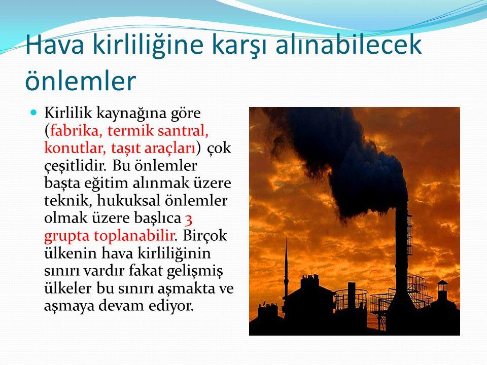 Hava kirliliğine karşı alınabilecek önlemler Kirlilik kaynağına göre (fabrika, termik santral, konutlar, taşıt araçları) çok çeşitlidir. Bu önlemler b