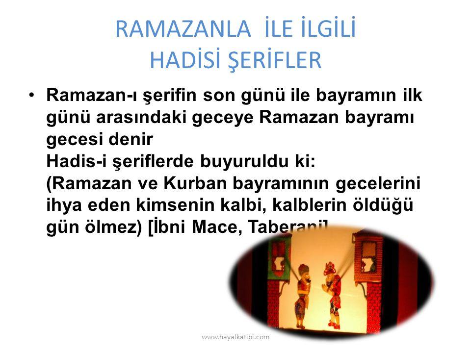 RAMAZANLA İLE İLGİLİ HADİSİ ŞERİFLER Ramazan-ı şerifin son günü ile bayramın ilk günü arasındaki geceye Ramazan bayramı gecesi denir Hadis-i şeriflerde buyuruldu ki: (Ramazan ve Kurban bayramının gecelerini ihya eden kimsenin kalbi, kalblerin öldüğü gün ölmez) [İbni Mace, Taberani] www.hayalkatibi.com