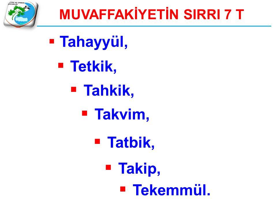 MUVAFFAKİYETİN SIRRI 7 T  Tahayyül,  Tetkik,  Tahkik,  Takvim,  Tatbik,  Takip,  Tekemmül.
