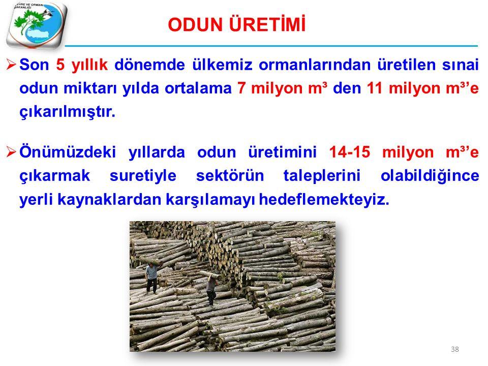 38 ODUN ÜRETİMİ  Son 5 yıllık dönemde ülkemiz ormanlarından üretilen sınai odun miktarı yılda ortalama 7 milyon m³ den 11 milyon m³'e çıkarılmıştır.