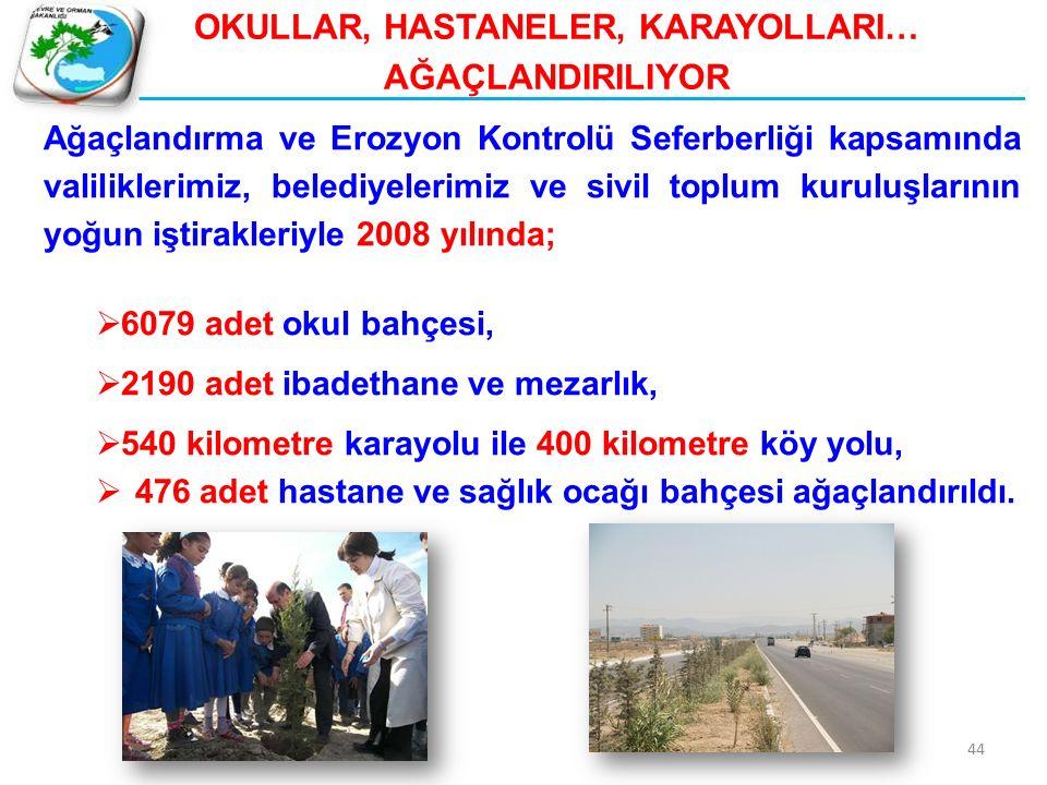 44 Ağaçlandırma ve Erozyon Kontrolü Seferberliği kapsamında valiliklerimiz, belediyelerimiz ve sivil toplum kuruluşlarının yoğun iştirakleriyle 2008 y