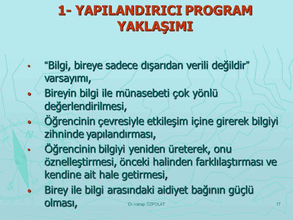 Dr.Vahap ÖZPOLAT16 PROGRAMLARIN TEMEL/ORTAK ÖZELLİKLERİ