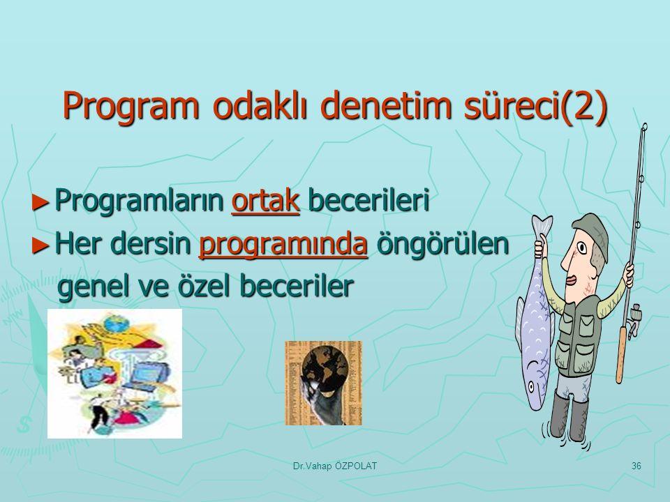 Dr.Vahap ÖZPOLAT35 Program odaklı denetim süreci(1) ► Programın öngördüğü değerlere ilişkin farkındalık değerlere