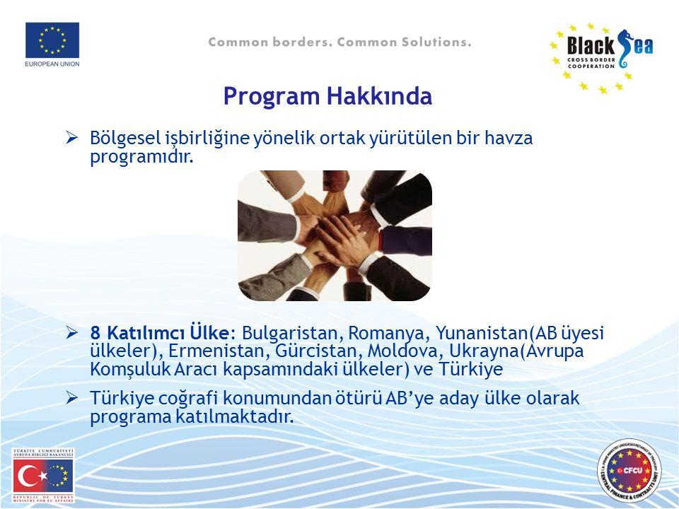 Program Hakkında  Bölgesel işbirliğine yönelik ortak yürütülen bir havza programıdır.  8 Katılımcı Ülke: Bulgaristan, Romanya, Yunanistan(AB üyesi ü