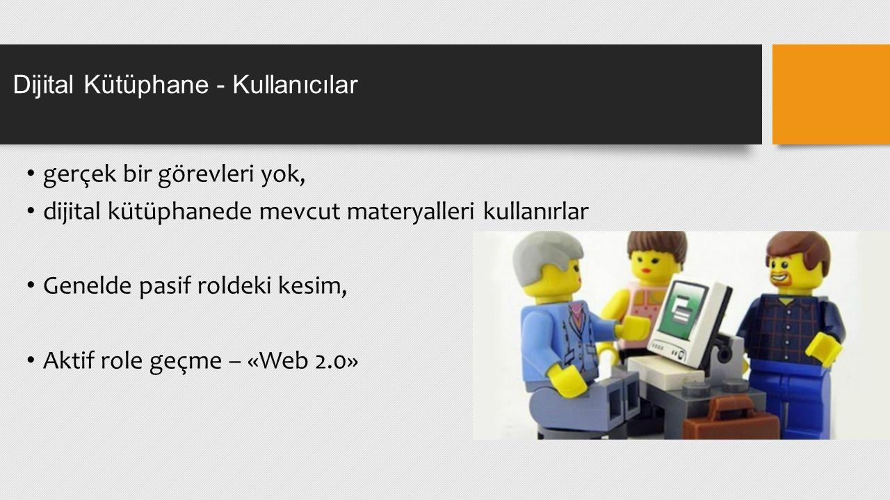 gerçek bir görevleri yok, dijital kütüphanede mevcut materyalleri kullanırlar Genelde pasif roldeki kesim, Aktif role geçme – «Web 2.0» Dijital Kütüphane - Kullanıcılar