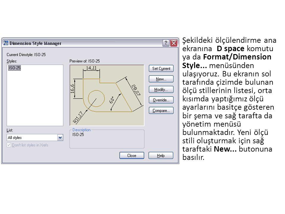 Şekildeki ölçülendirme ana ekranına D space komutu ya da Format/Dimension Style...