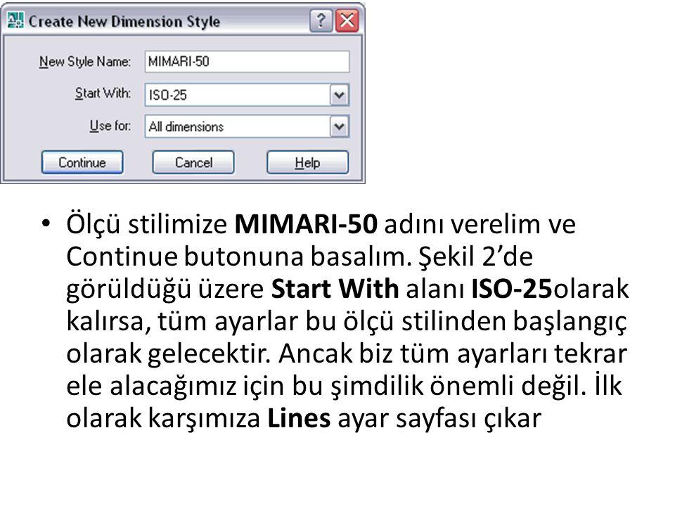 Ölçü stilimize MIMARI-50 adını verelim ve Continue butonuna basalım.