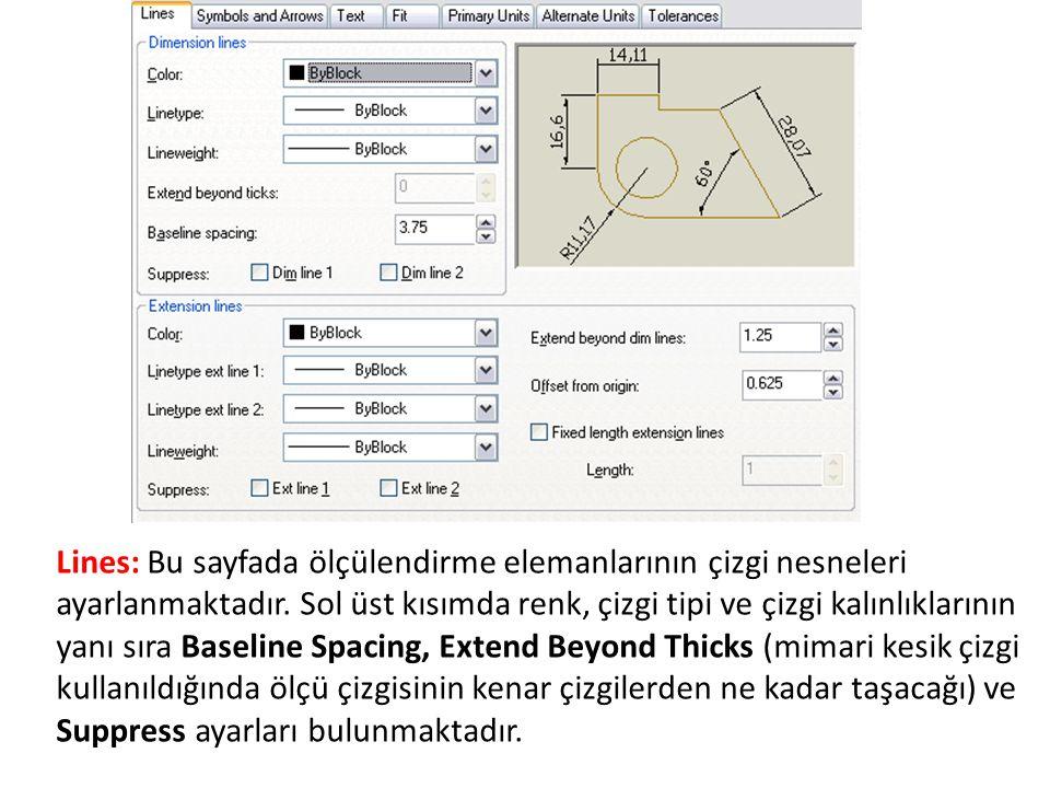 Lines: Bu sayfada ölçülendirme elemanlarının çizgi nesneleri ayarlanmaktadır.