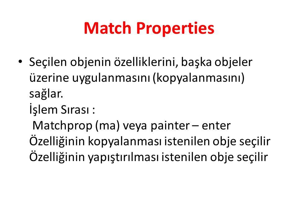 Match Properties Seçilen objenin özelliklerini, başka objeler üzerine uygulanmasını (kopyalanmasını) sağlar.