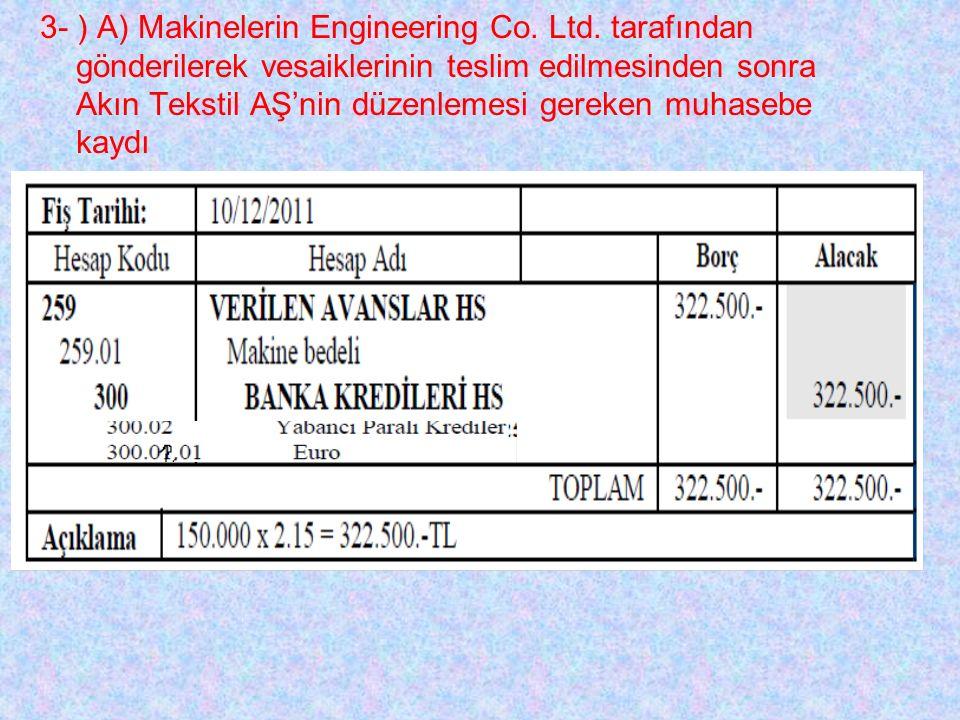 3- ) A) Makinelerin Engineering Co. Ltd.